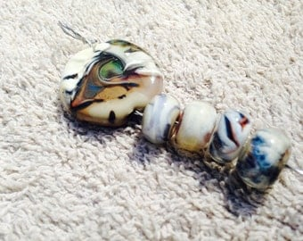 Lampwork pendant with 4 spacer beads