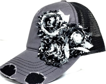 Womens Trucker Hats, Women's Cadet Caps, Bling Ball Caps, Distressed Trucker, Trucker Flower Hat, Bling Trucker Hat, Flower Cadet Cap
