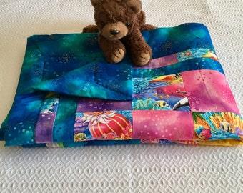 All cotton child quilt, baby quilt, toddler quilt, ocean theme quilt