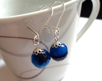 925 sterling silver dangle earrings rich blue faceted agate stone bead gemstone