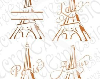 Paris Svg, Love Svg,  Amour Svg, Split Monogram Eiffel Tower Svg 4 Digital Sign Cutting File JPEG DXF SVG Cricut, Svg Silhouette, Print File