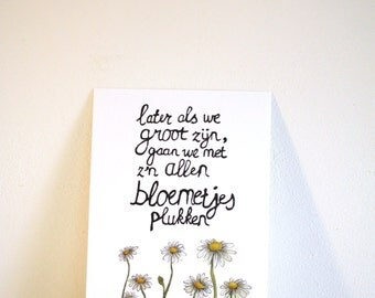 Postcard ' picking ' flowers