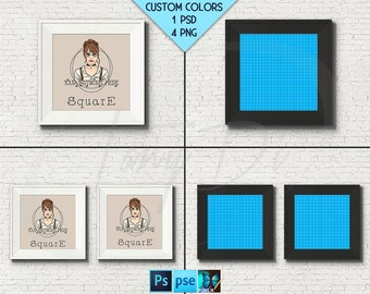 Square #W11 Wide White Black 10x10 Set of 2 Square Unmatted Frame on Brick Wall, 4 Print Display Mockups, PNG PSD PSE, 25x25cm Custom colors