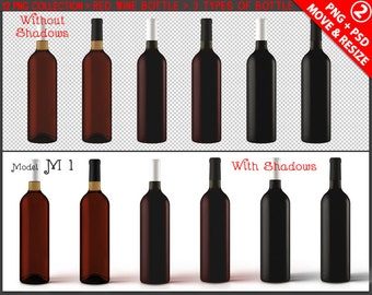 Bottle Red Wine | 12 PNG Collection, Brown Green Black Bottle, Label Display Mockup PSD smart object, Realistic shadows