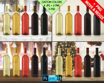 Bottle | Set of 5 Different Wine Bottles | Wedding Xmas Table | Studio bg | Label Display Mockups | 4 JPG scenes, PSD smart object