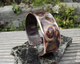 Fired, Forged Copper Cuff Bracelet.  Epoxy Shield.