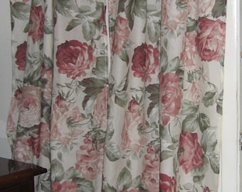Boho Curtains/Farmhouse/Cottage/Cabbage Roses/Shabby Chic