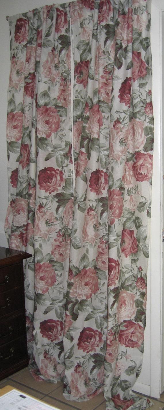 Boho Curtains Farmhouse Cottage Cabbage Roses Shabby Chic