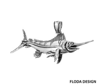 Blue Marlin 3D Fish Pendant in Sterling Silver, Fish Jewelry, Blue Marlin Jewelry  FD-1-2