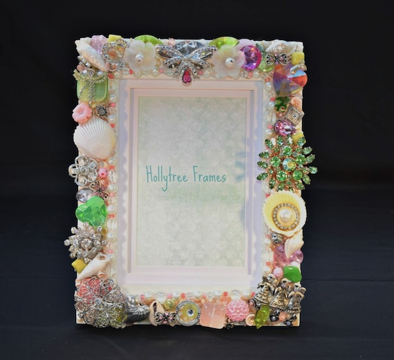 5in x 7in Pink and Green Hand Decorated Picture Frame with Vintage Jewelry