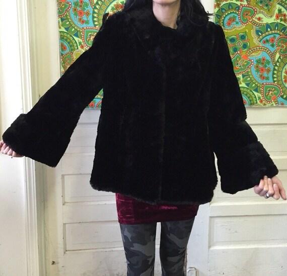 Womens 1940s Black Fur Coat