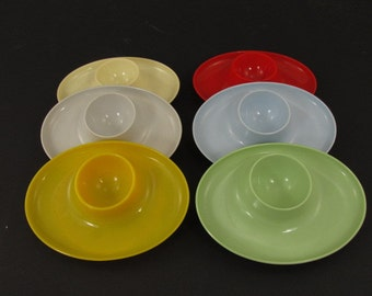 6 candy colored egg cups holders / 60s