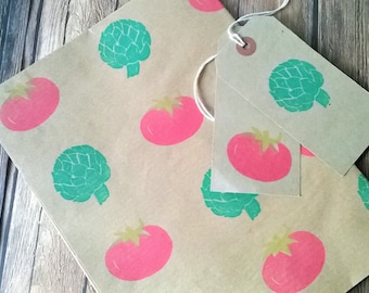 Vegetables wrapping paper ~ Eat your Veggies Hand Stamped eco friendly Gift Wrap - Cook - Chef - Vegetarian wrap