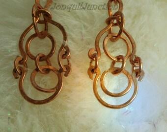 copper earrings, handcrafted earrings, OOAK earrings, hand-hammered copper earrings, unique earrings, earrings, made in the USA, copper