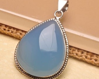 Natural Blue Chalcedony sterling silver  pendant   ( #J1507)