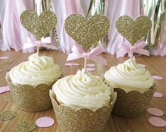 12 x Pink and Gold Glitter Heart Cupcake Toppers