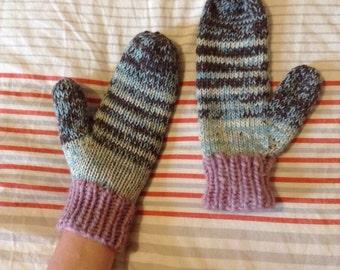 Green, brown, pink striped mittens, hand knit warm wool women's mittens
