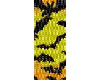 Peyote Bracelet Pattern Halloween Bats on Moon