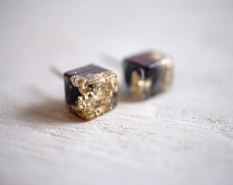 Cube Earrings, Gold and black Minimalist Earrings, hypoalergenic stud earrings