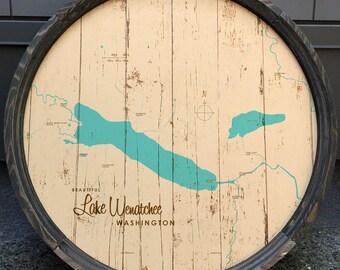Lake Wenatchee, WA Map Barrel End