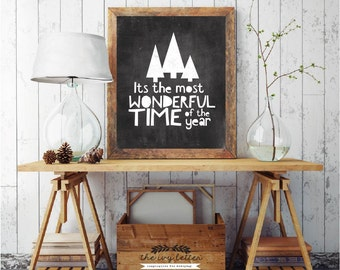 It's The Most Wonderful Time Of The Year, Printable Christmas Chalk Art Prints, Gift Ideas, Christmas Tree Chalkboard Sign, DIGITAL DOWNLOAD