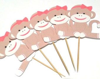 Girl Sock Monkey Theme Party -  Cupcake Toppers