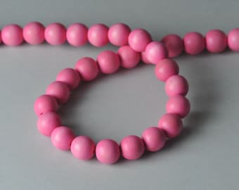 Pink Wood Beads, Round Wood Beads, 12mm, Lightweight Beads, Fast Shipping from USA