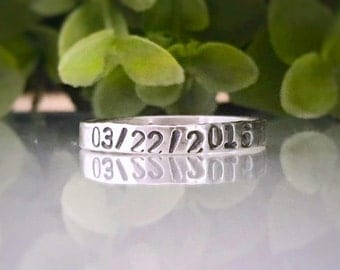 Name Ring - Silver Personalized Rings - Sterling Silver Name Ring - Personalized Stacking Rings - Hand Stamped Ring - Mom Rings - Free Ship