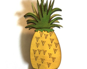 Pineapple Smoothie Matching Wood Brooch