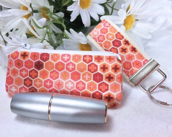 Tula Pink Mini Key Fob and Zipped Lipstick Coin Purse Set Earbuds Headphones Case Honeycomb Mother's Day Gift Under 10 Dollars