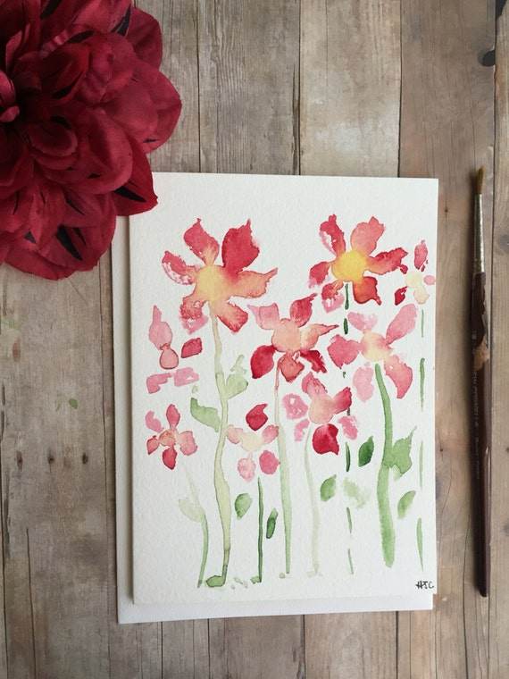 Watercolor Flower Card, Hand Painted Red Flower Card, Homemade Card