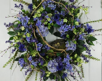 Spring/Summer Wreath, Purple and Green Wreath, Summer Wreath, Floral Wreath