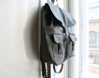 Gray Canvas Leather backpack Unique handmade gift for College students, Anniversary gift for women or man