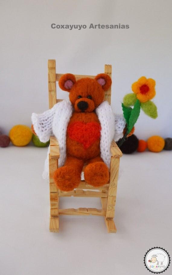 Felted Bear With Heart Felted Bear Teddy Bear In Rocking