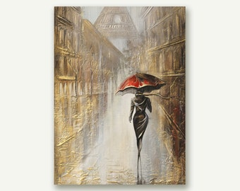 Painting Parisienne Original Art Painting , Original  Canvas Art Painting , Gold leaf canvas , Gold leaf painting , Pallet knife painting