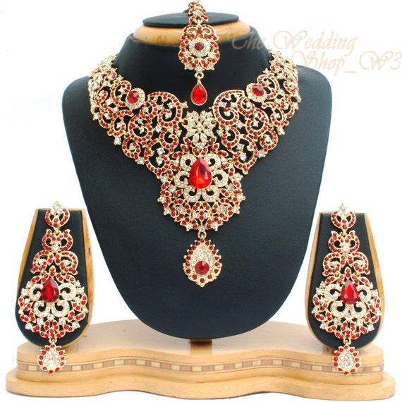 Elegant Bridal Set Heavy Gold Plated Diamante Crystal: Elegant Red & Gold Heavy Bridal Set Vintage Indian Wedding