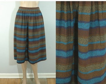 50% OFF Feb 9 - 11 70s Striped Evan Picone Designer Skirt • Size XS • Vintage 1970s Brown & Blue Striped A-Line Skirt  [K]