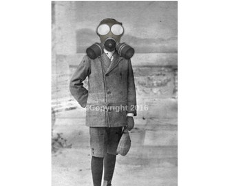 Bizarre Creepy Boy Vintage Photo Victorian Vintage Altered Art Halloween Gas Mask Instant Download Ephemera Scrapbook Card Supply
