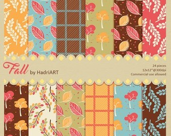 Fall Digital Paper Commercial Use