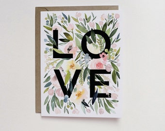 Watercolor Floral LOVE A2 Greeting Card