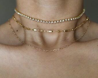 Heavenly Dainty 24k Gold Choker Necklace  ~ Gold Choker Necklace ~ Boho Jewelry ~ Layering Necklace ~ Gold Necklace