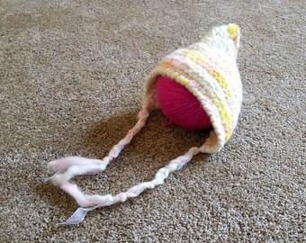 Newborn handspun crochet pixie bonnet pattern
