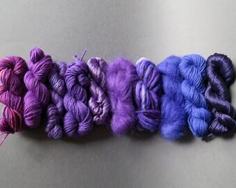 Yarn pack for knitting, crochet, weaving or felting. Wool, kid mohair, viscose, silk, merino - Royal to Indigo