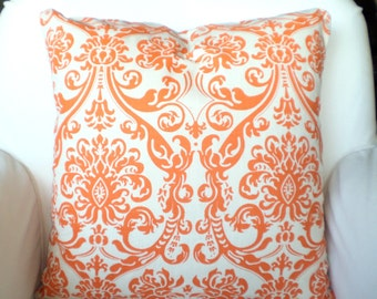Orange Cream Damask Pillow Covers, Decorative Throw Pillows Mandarin Orange Natural Cushions, Couch Pillows, Damask Shabby Chic ALL SIZES