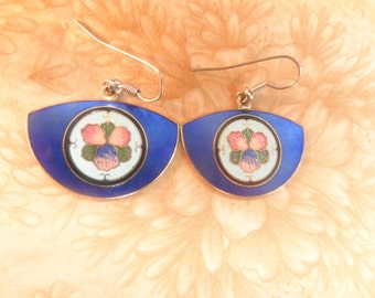 Blue enamel flower pierced earrings vintage jewelry gold tone pink