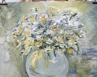 Daisies. Cardboard acrylic. Yellow, white, black.