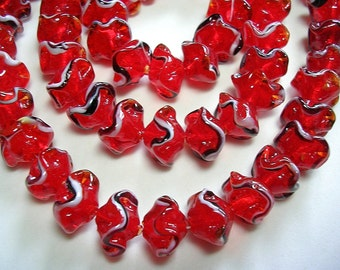 16mm X 12mm Red Lampwork Beads 15 Beads Swirled Ruffled Saucer beads Chunky Lampwork Pretty Ruffles Red Jewelry