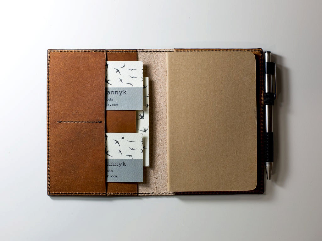 Leather Journal Case With Pockets And Pen Holder Horween