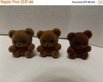 "Sale Dollhouse Miniature Flocked 1"" Brown Bears Set of 3"