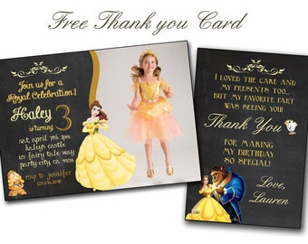 Belle invitation,Princess Belle and the Beast Birthday card,Princess Belle Invitation,Princess Belle PRINTABLE birthday card,Belle thank you